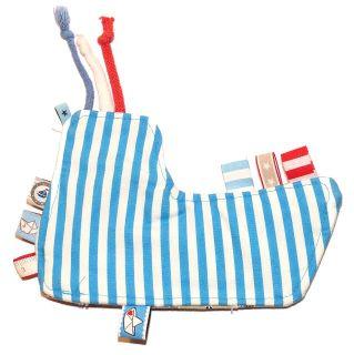 Knisterschiff fürs Baby genäht, mit Knisterfolie, maritimes Schnuffeltuch, Streifen blau weiß, Web-Bänder, Kordeln