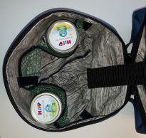 Verpflegungstasche fürs Baby genäht, innen wasserabweisender Stoff von Ikea, mit Mesh, Netzstoff, für Brei-Gläschen und Löffel, außen Kunstleder blau, Reißverschluss