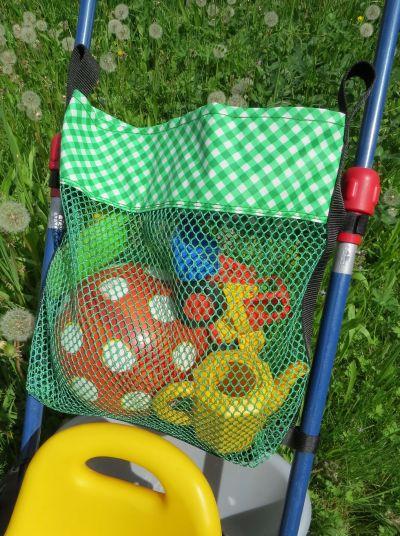 große Dreirad-Tasche, Mesh, Netzstoff, beschichtete Baumwolle, Wachstuch, mit Reißverschluss, Spielplatztasche