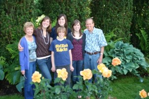Grandma, Ashley, Jamison (front), Heather, Melissa, and Grandpa