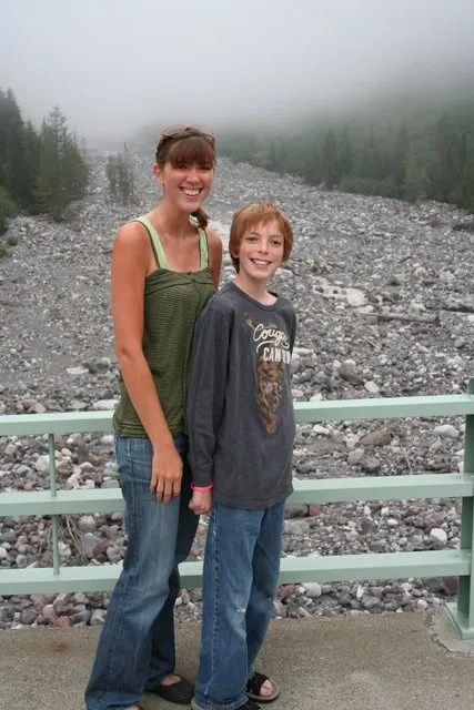 Ashley and Jamison on bridge over Nisqually River