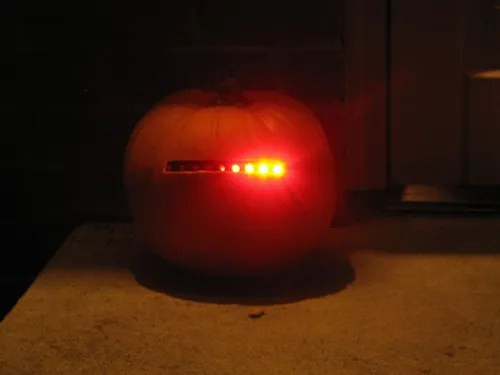 pumpkin with a scanning light