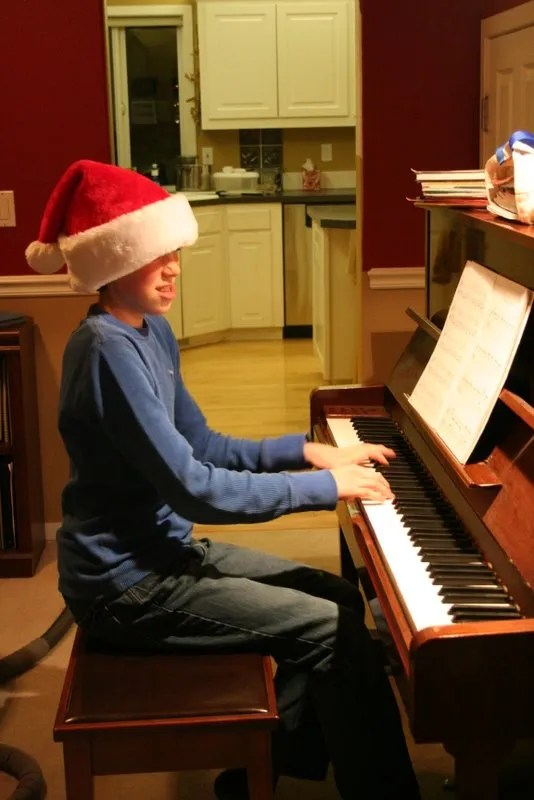 Jamison plays a carol