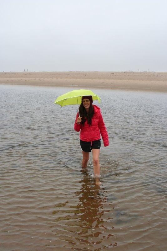 Heather wades in Elk Creek