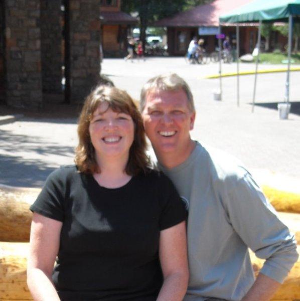 Suzi and I squint in the bright sun
