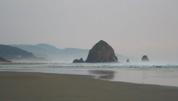 Haystack Rock in twilight