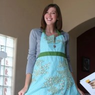 Ashley models her new apron