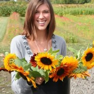 Ashley with her sunflowers