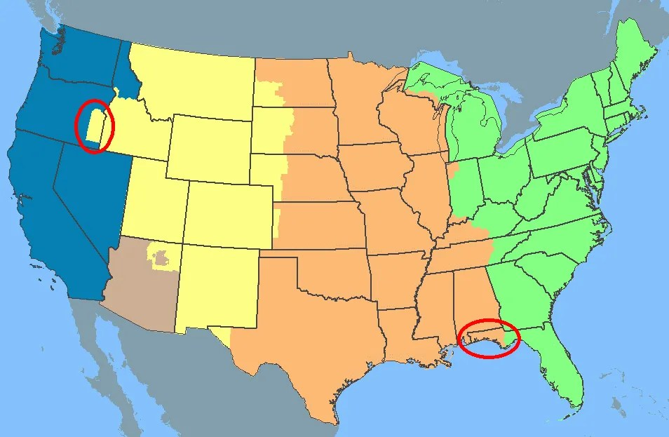 Current Dates And Times In US States Map Map Usa Time Zones - Cities in the us map