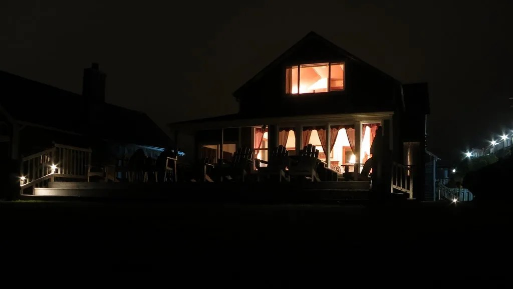 Our house at night