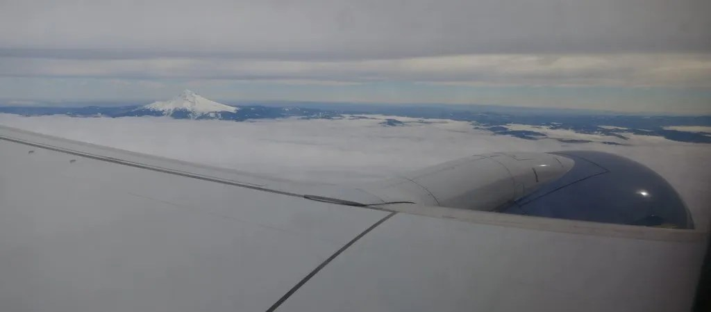 Mount Hood over the wing