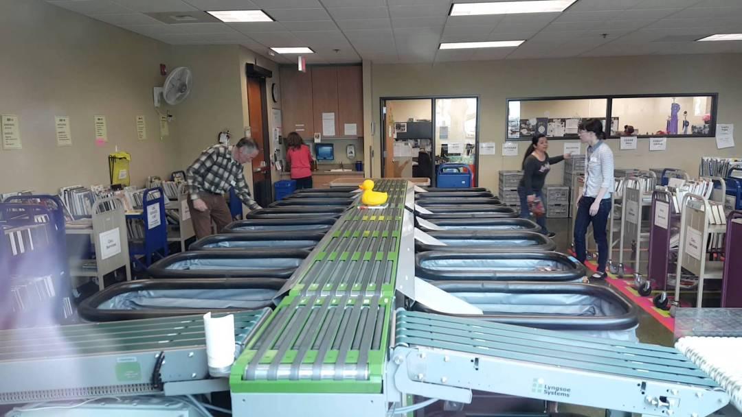 Book sorter at the Hillsboro Public Library
