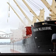 Kmarin Melbourne docked by the Steel Bridge
