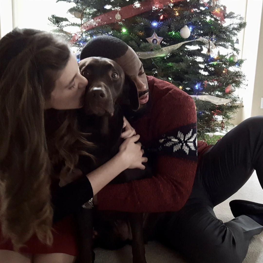 Mousse poses for a Christmas portrait