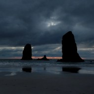 Sunset at the The Needles at Cannon Beach
