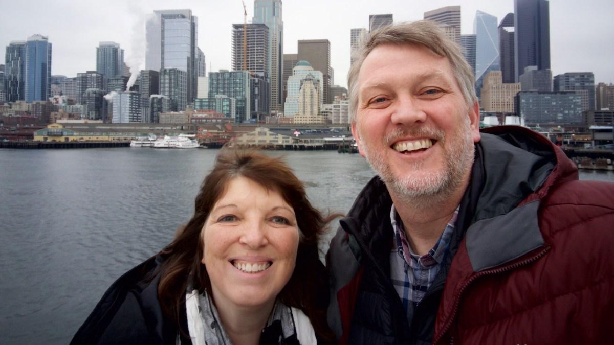 Suzi and me riding from Seattle to Bainbridge Island