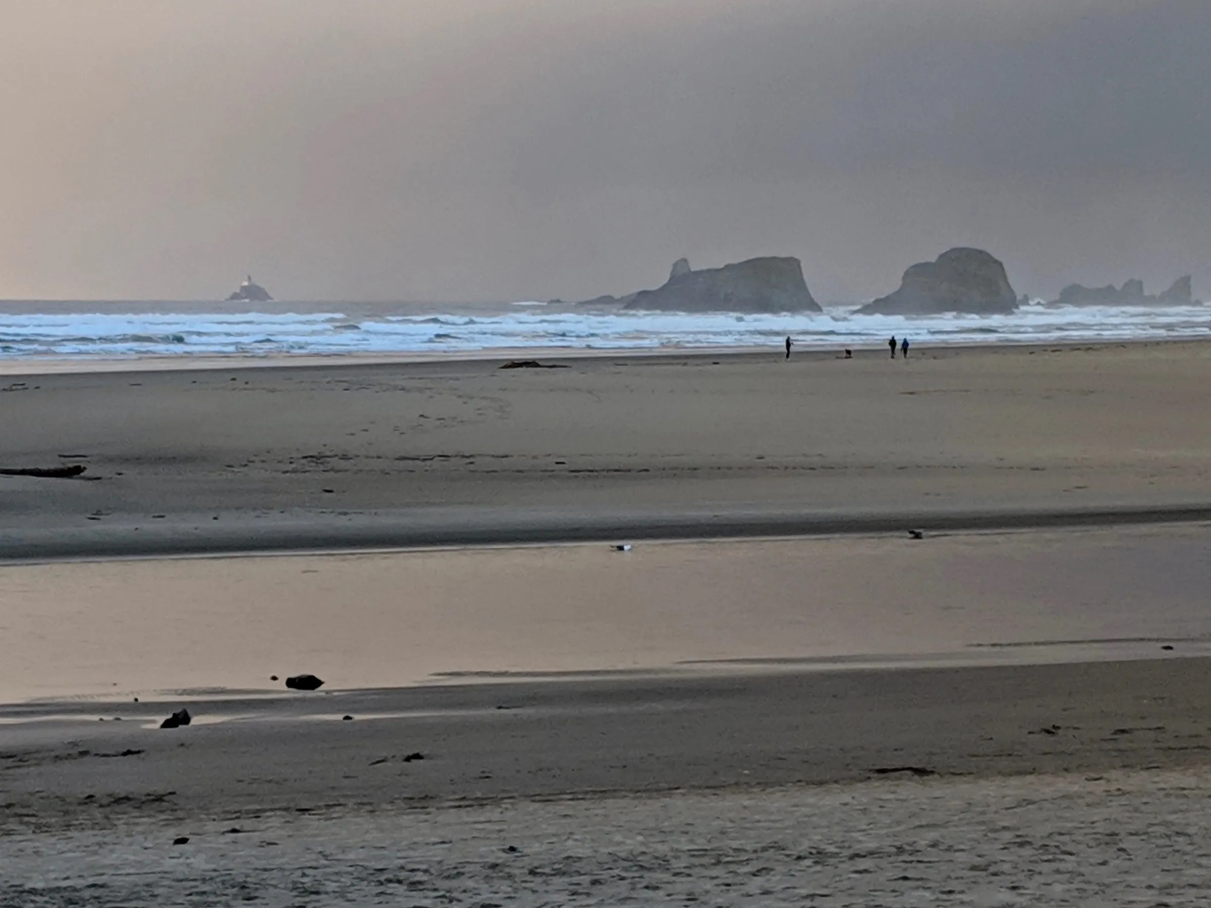 Tillamook Rock Light and Bird Rocks from Cannon Beach