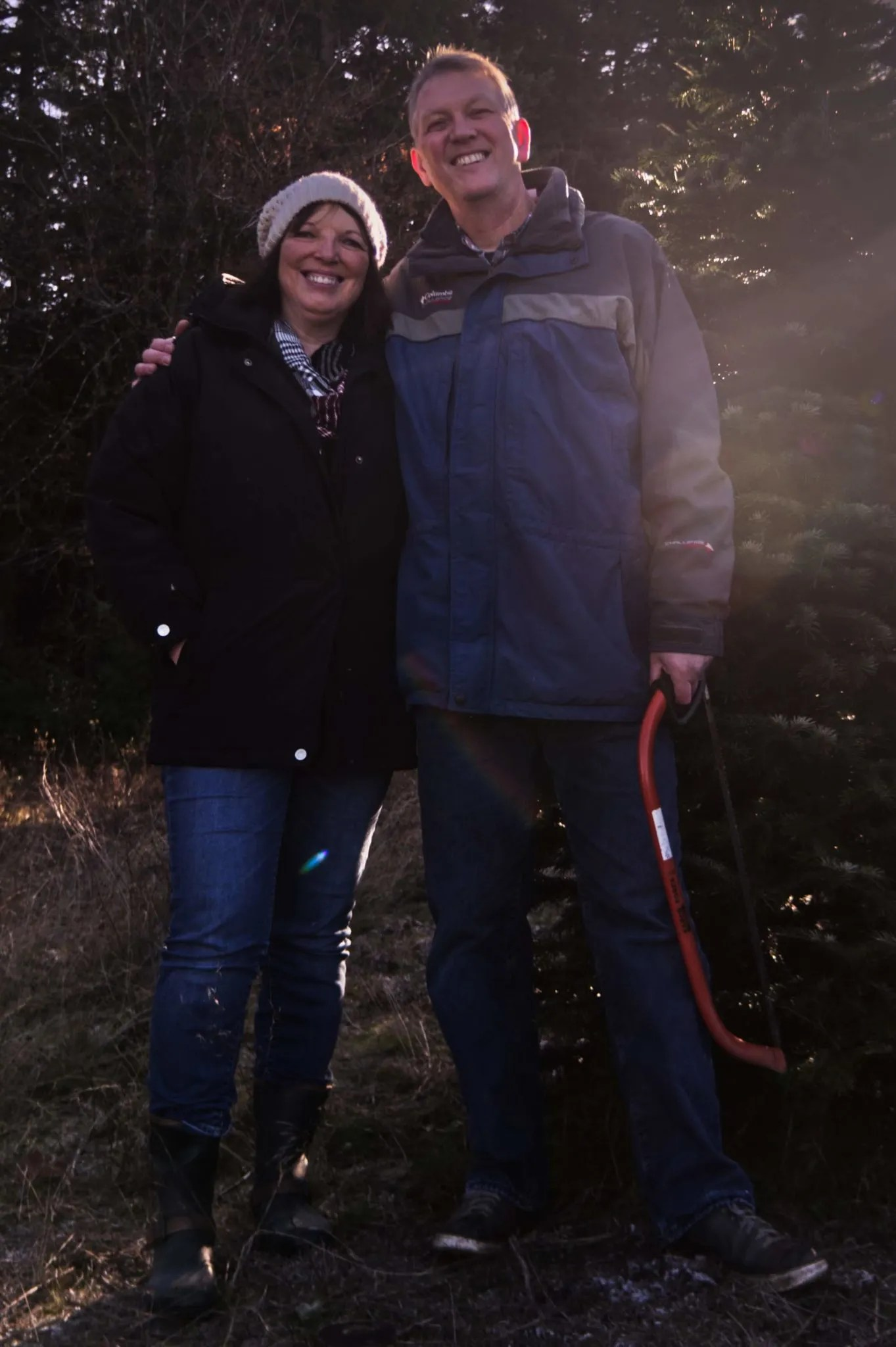 Suzi and me by our tree