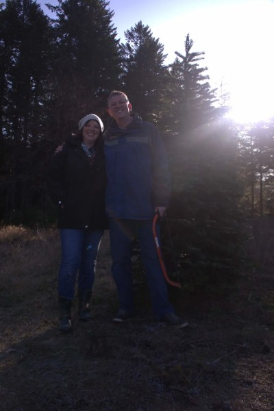 Suzi and I pose by our tree