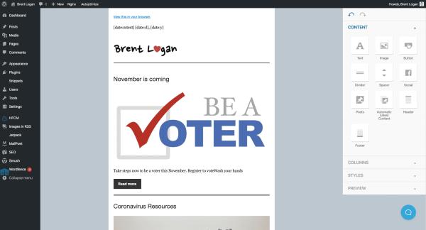 MailPoet screen in WordPress admin
