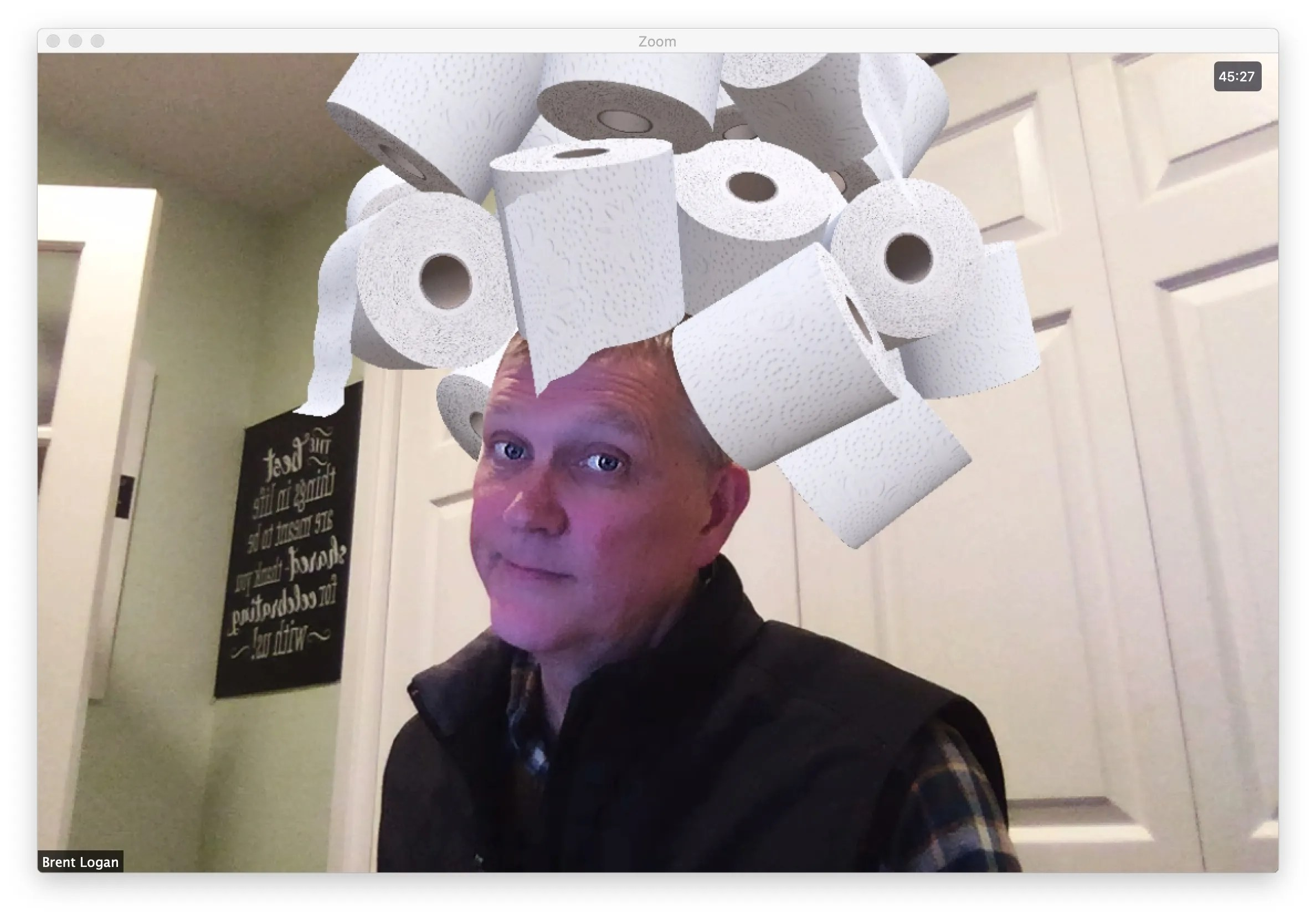 "Brent wearing a toilet paper ""hat"""