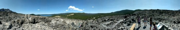 Obsidian flow and Paulina Lake