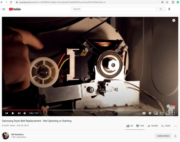 Screen capture from a repair video