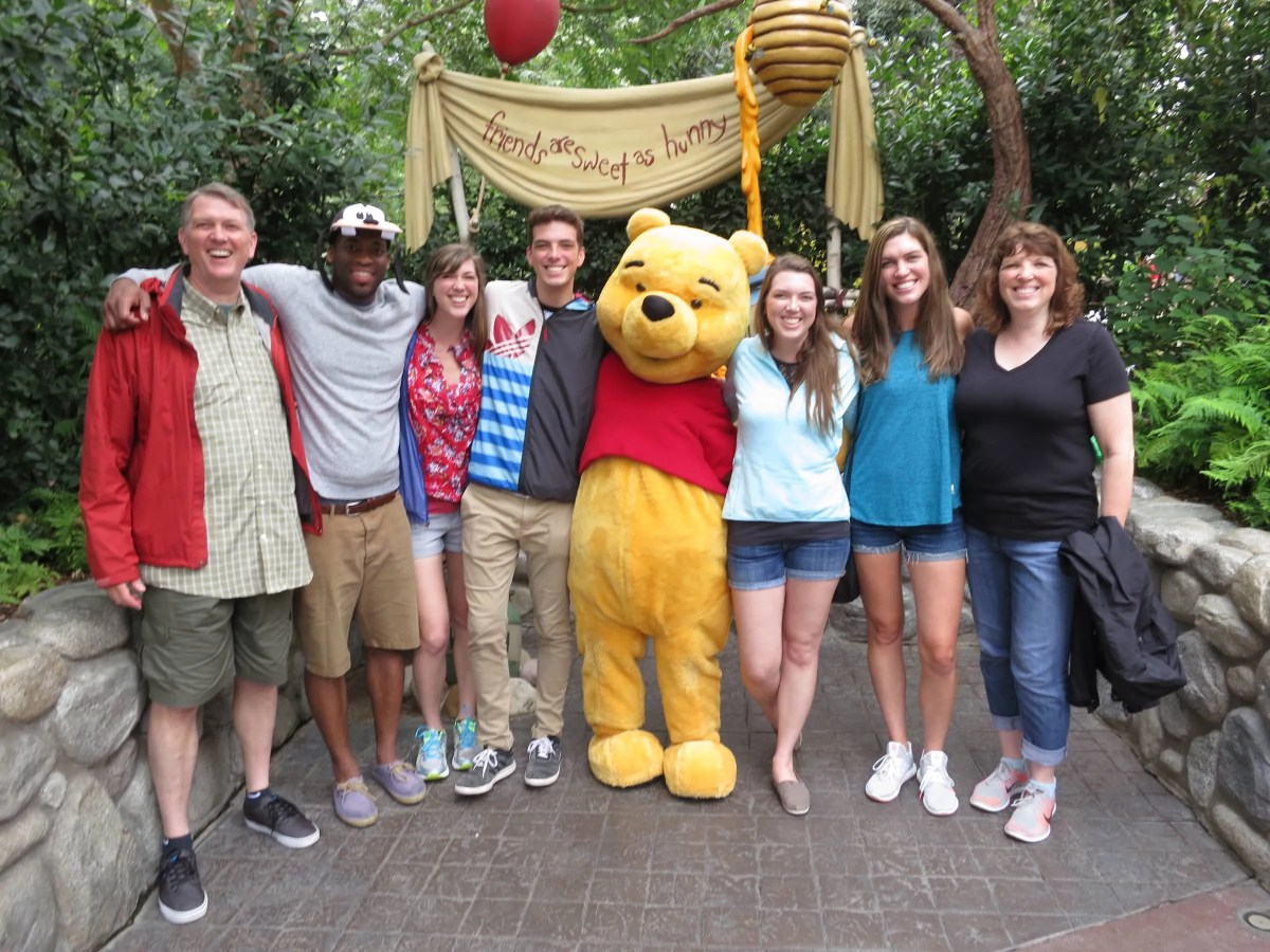 The whole gang with Winnie the Pooh