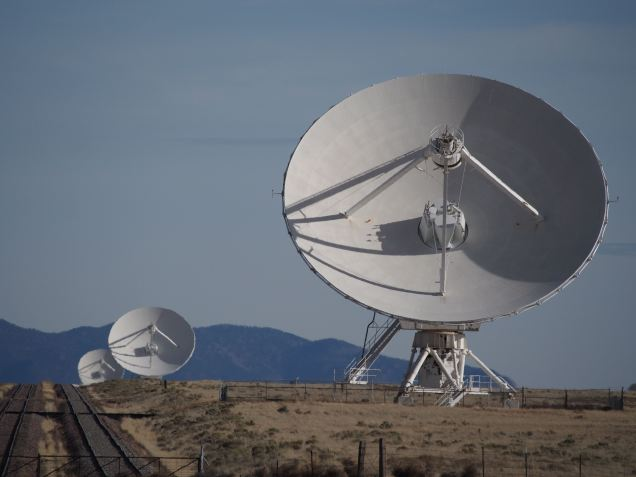 Three VLA dishes, and the tracks they move along
