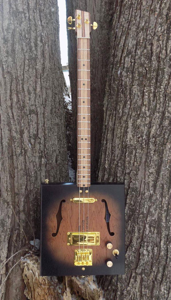 3-String 2-Pickup Electric Cigar Box Guitar with F-Holes