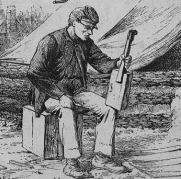 The oldest known drawing of a Cigar Box instrument (1865 - Siege of Charleston).