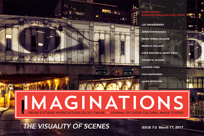 Imaginations Cover, The Visuality of Scenes, eyeball graffiti adorns a railway bridge over a nighttime city street