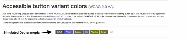 Screenshot showing bootstrap buttons with simulated color-blindness