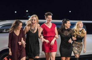 Limo girls night out laughing video shoot