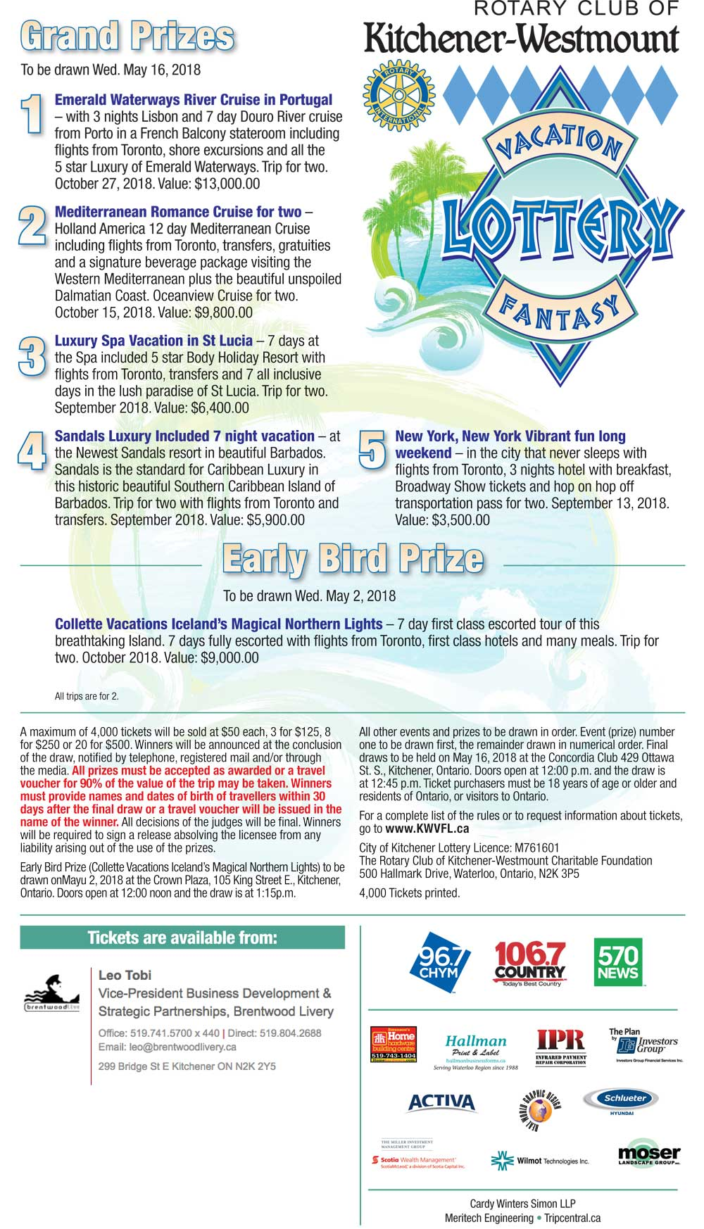 Rotary Club of Kitchener-Westmount Vacation Fantasy Lottery
