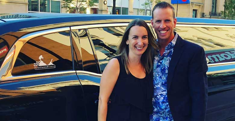 Brent & Laura Ferguson with Brentwood Livery Stretch Limo