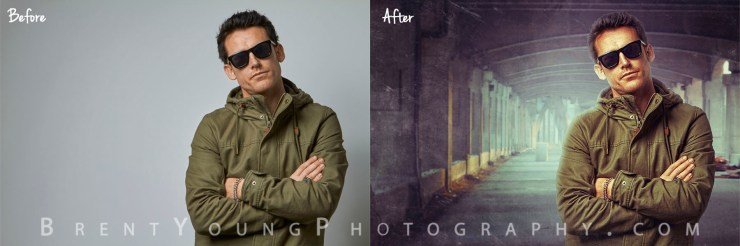 Before & After Photography Tutorial of Sydney Musician by Cowra Photographer Brent young