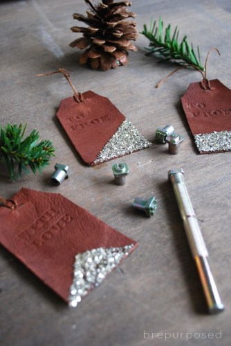 DIY Leather Stamped Gift Tags