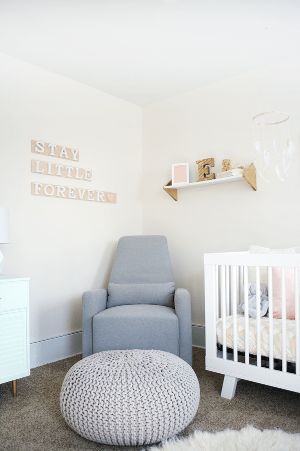 Create this easy DIY Wooden Letter Art Sign for your baby's nursery!