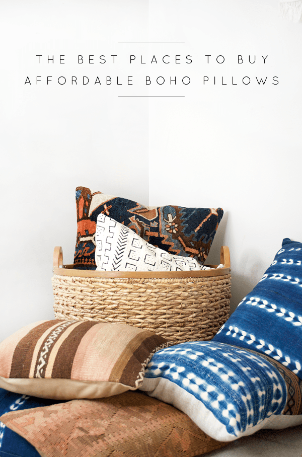 A round up of The Best Places to Buy Affordable Boho Pillows