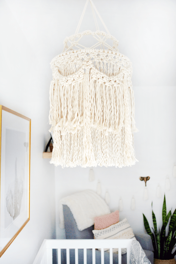 macrame lantern in girl's boho nursery