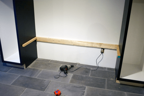 DIY Geometric Wood Feature Wall with Floating Bench