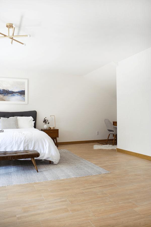 Wood Look Tile In A Modern Boho Bedroom