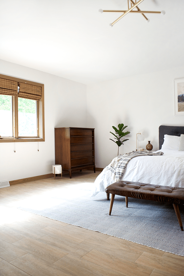 Wood Look Tile in a Modern Boho Bedroom