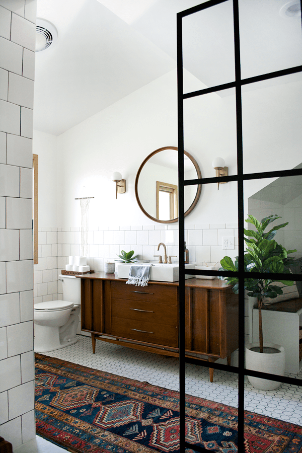 Modern Vintage Bathroom With An Open Shower