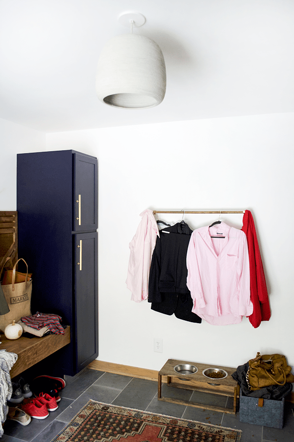 clothes in a messy laundry room