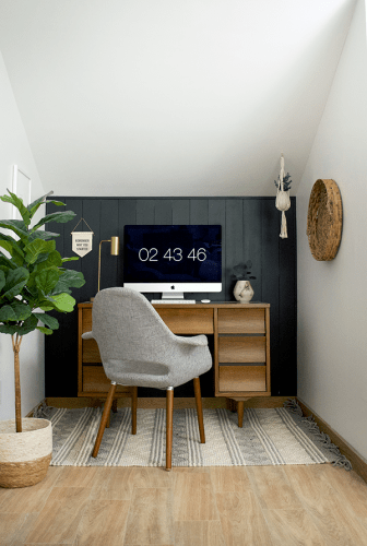 DIY Dark Vertical Shiplap and Office Nook Reveal