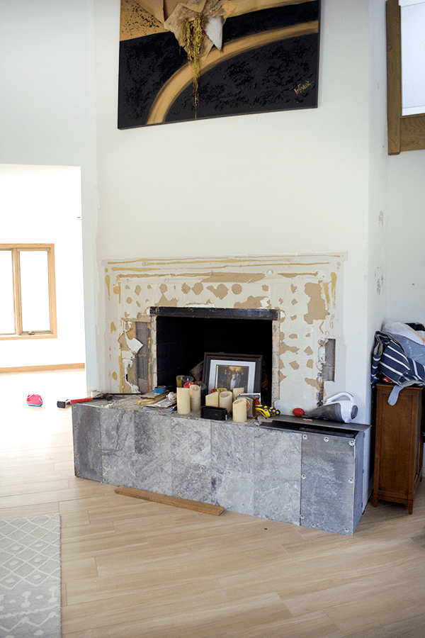 Concrete tile fireplace makeover