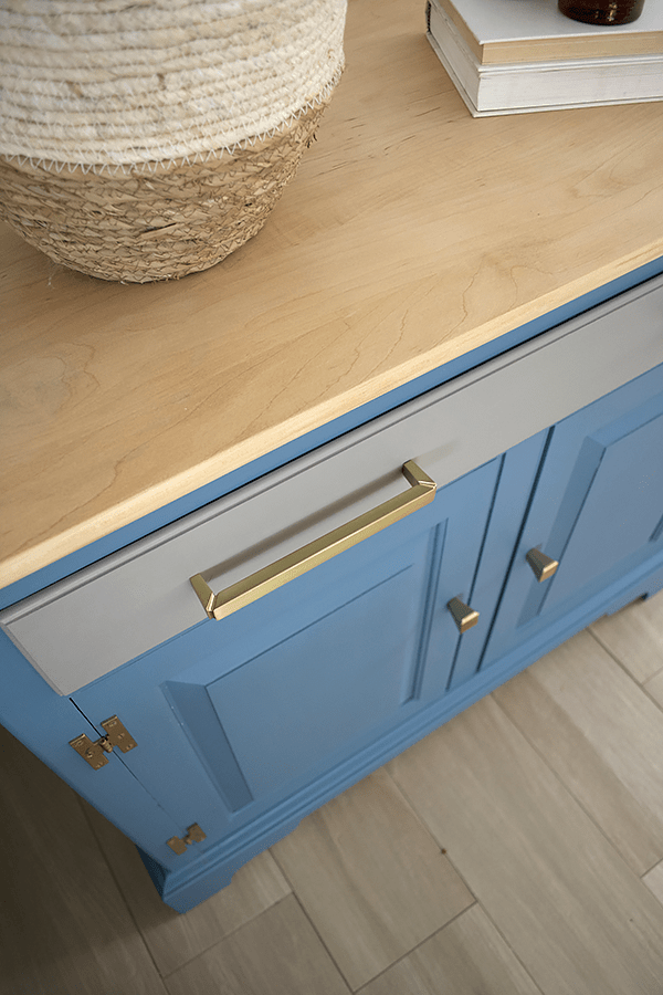 Brass Hardware on Blue Painted Furniture