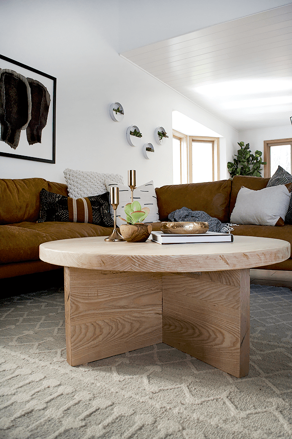 Round Wood Coffee Table With Natural Finish